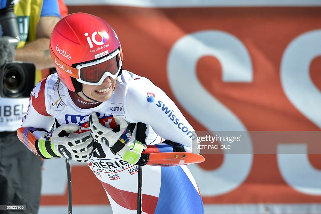 Switzerland's <a gi-track='captionPersonalityLinkClicked' href=/galleries/search?phrase=Dominique+Gisin&family=editorial&specificpeople=4083154 ng-click='$event.stopPropagation()'>Dominique Gisin</a> reacts after taking part in the Women's Super G race at the FIS Alpine Skiing World Cup finals in Meribel on March 19, 2015.