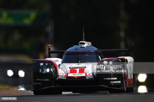 Switzerland's driver Neel Jani competes on his Porsche 919 Hybrid N°1 during the 85th Le Mans 24hours endurance race on June 17 2017 in Le Mans...