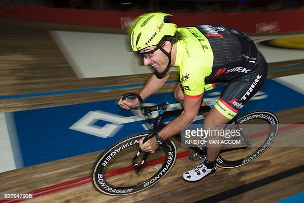 Switzerland's Fabian Cancellara rides his bike during a special event called 'Ciao Fabian' to say goodbye to the Swiss cycling champion on November...