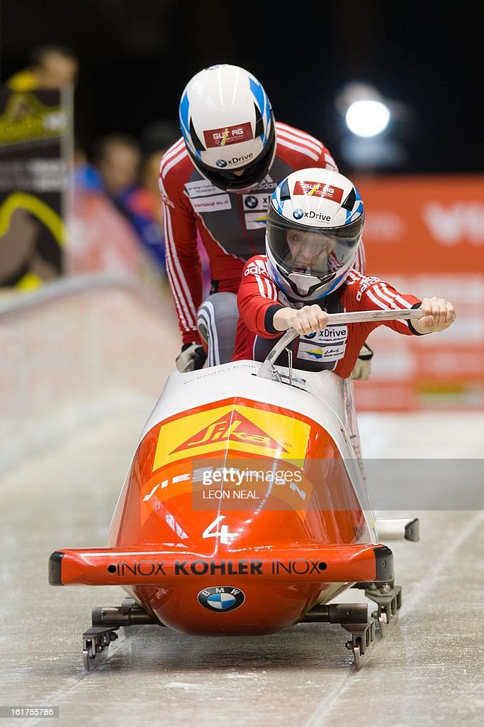 Switzerland's Fabienne Meyer (front) and Elisabeth Graf takes part in the first run during the Women's Bobsleigh competition at the Sanki Sliding Centre, some 50 km from Russia's Black Sea resort of Sochi, on February 15, 2013. With a year to go until the Sochi 2014 Winter Games, construction work continues as tests events and World Championship competitions are underway.