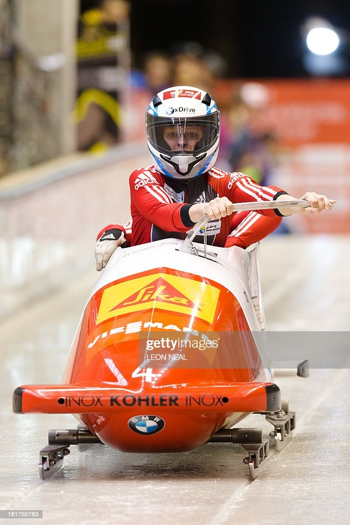Switzerland's Fabienne Meyer takes part in the first run during the Women's Bobsleigh competition at the Sanki Sliding Centre, some 50 km from Russia's Black Sea resort of Sochi, on February 15, 2013. With a year to go until the Sochi 2014 Winter Games, construction work continues as tests events and World Championship competitions are underway.