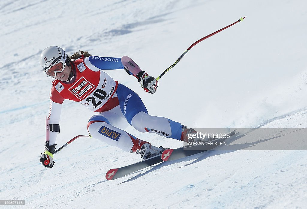 Switzerland's Fabienne Suter competes during the women's World Cup Super G, on January 13, 2013 in St Anton am Arlberg, Austria. Slovenia's Tina Maze won ahead of Austria's Anna Fenninger and Switzerland's Fabienne Suter.