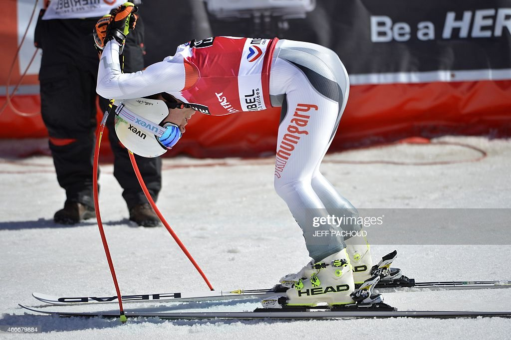 Switzerland's <a gi-track='captionPersonalityLinkClicked' href=/galleries/search?phrase=Fabienne+Suter&family=editorial&specificpeople=4140509 ng-click='$event.stopPropagation()'>Fabienne Suter</a> reacts after the Women's downhill at the FIS Alpine Skiing World Cup finals in Meribel on March 18, 2015.