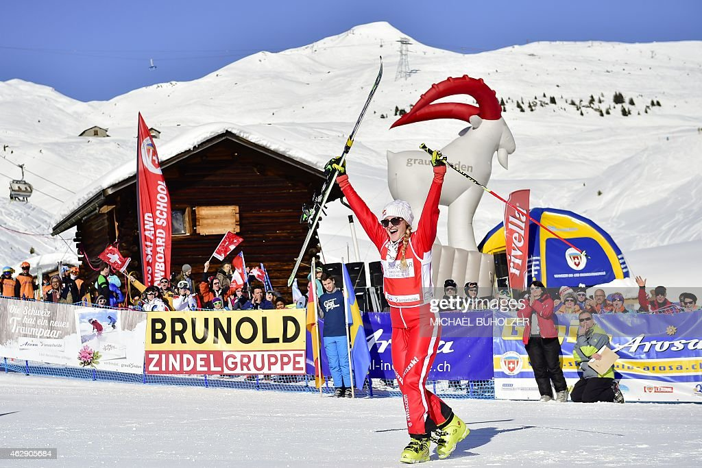 Switzerland's <a gi-track='captionPersonalityLinkClicked' href=/galleries/search?phrase=Fanny+Smith&family=editorial&specificpeople=6704843 ng-click='$event.stopPropagation()'>Fanny Smith</a> reacts after winning the Women's Snow Ski Cross Final at FIS World Cup in Arosa, on February 7, 2015.