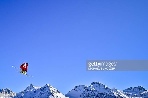Switzerland's firstplaced Fanny Smith jumps as she competes in the Women's Snow Ski Cross Quarter Final at the FIS World Cup in Arosa Switzerland on...