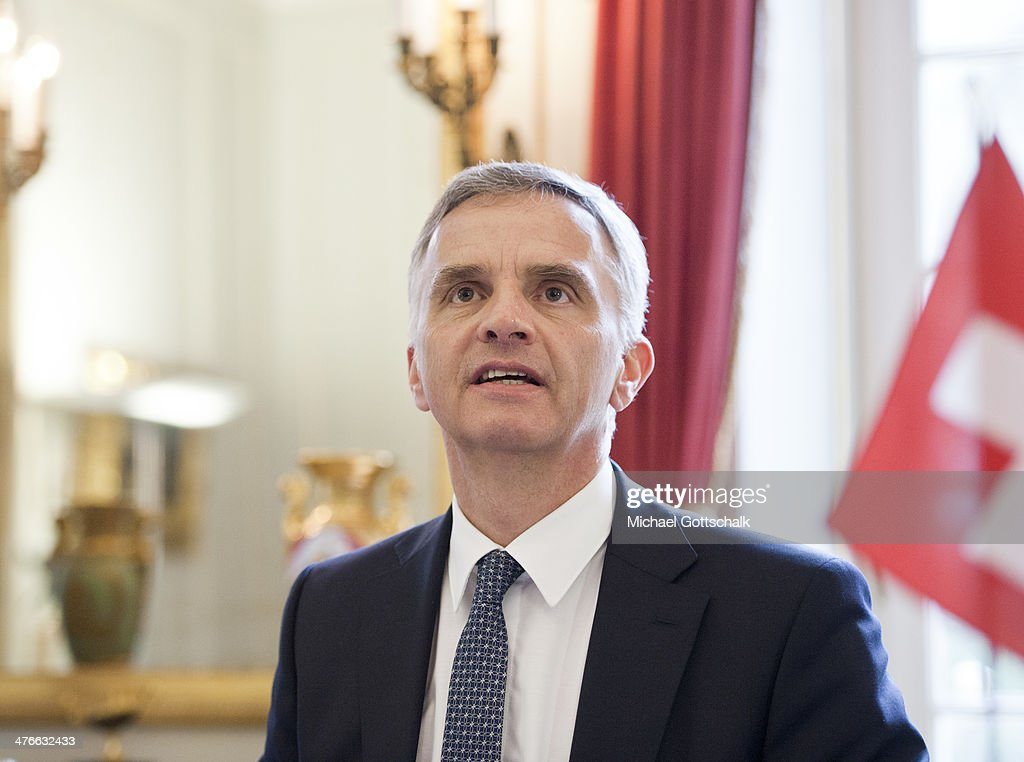 Switzerlands Foreign Minister <a gi-track='captionPersonalityLinkClicked' href=/galleries/search?phrase=Didier+Burkhalter&family=editorial&specificpeople=6269147 ng-click='$event.stopPropagation()'>Didier Burkhalter</a> during a meeting with German Foreign Minister Frank-Walter Steinmeier on March 04, 2014 in Bern, Switzerland.