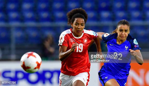Switzerland's forward Eseosa Aigbogun vies with France's defender Sakina Karchaoui during the UEFA Women's Euro 2017 football tournament between...