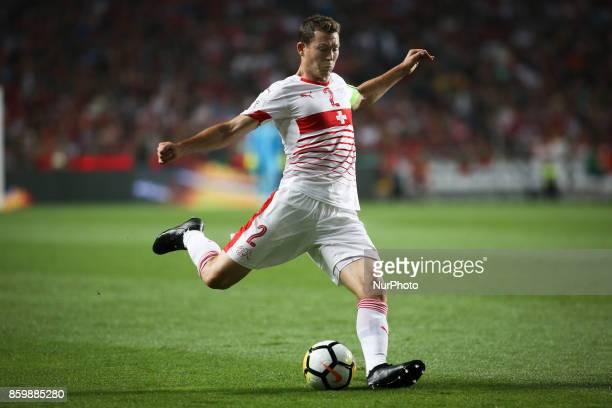 Switzerland's forward Haris Seferovic kicks the ball during the FIFA 2018 World Cup Qualifier match between Portugal and Switzerland at the Luz...