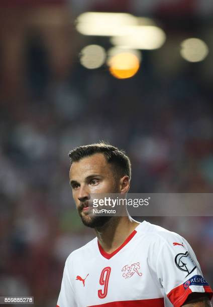 Switzerland's forward Haris Seferovic looks on during the FIFA 2018 World Cup Qualifier match between Portugal and Switzerland at the Luz Stadium on...