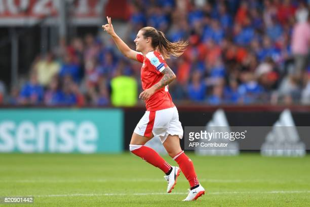 Switzerland's forward Ramona Bachmann celebrates after scoring a goal during the UEFA Womens Euro 2017 football tournament match between Iceland and...