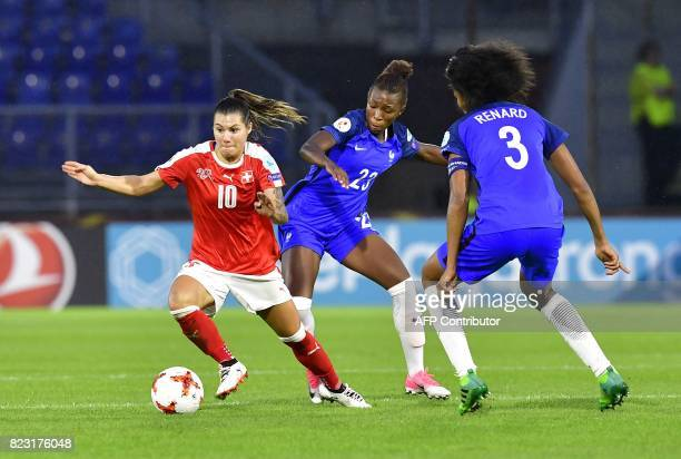 Switzerland's forward Ramona Bachmann challenges France's midfielder Grace Geyoro during the UEFA Women's Euro 2017 football match between...