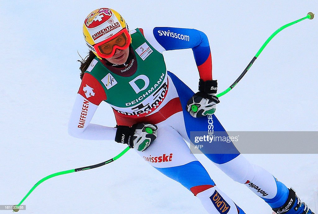 Switzerland's Fraenzi Aufdenblatten practices during the women's downhill training event of the 2013 World Ski Championships in Schladming, Austria on February 9, 2013. AFP PHOTO / ALEXANDER KLEIN