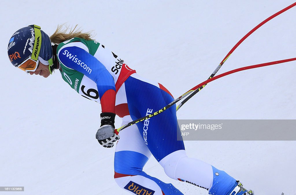 Switzerland's Fraenzi Aufdenblatten practices during the women's downhill training event of the 2013 World Ski Championships in Schladming, Austria on February 9, 2013.