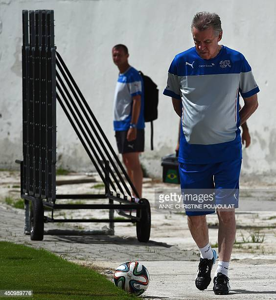Switzerland's German coach Ottmar Hitzfeld takes part in a training session on June 21 2014 at the Municipal Stadium in Porto Seguro during the 2014...