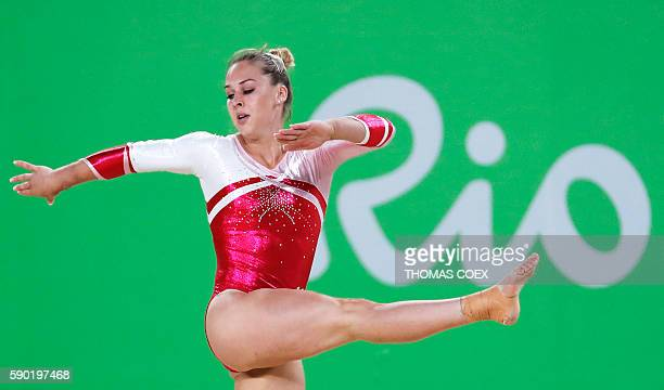 Switzerland's Giulia Steingruber competes in the women's floor event final of the Artistic Gymnastics at the Olympic Arena during the Rio 2016...