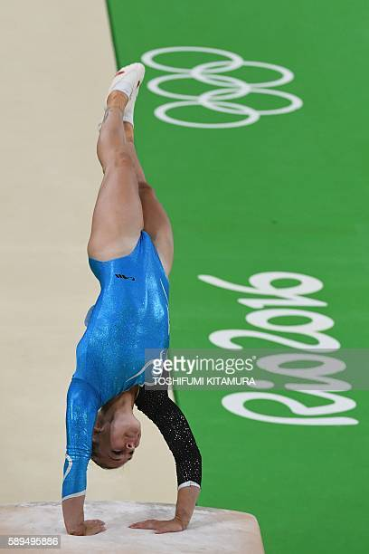 Switzerland's Giulia Steingruber competes in the women's vault event final of the Artistic Gymnastics at the Olympic Arena during the Rio 2016...