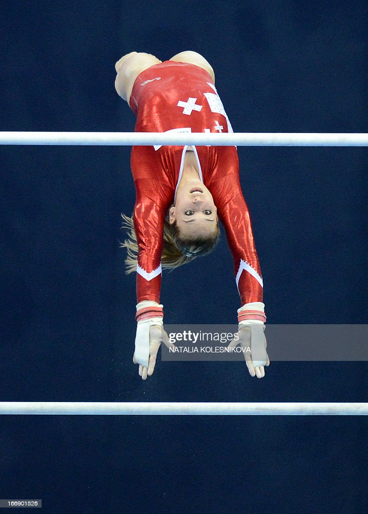 Switzerland's Giulia Steingruber competes on the uneven bars in the women's individual artistic gymnastics qualification during the 5th European Men's and Women's Artistic Gymnastic Individual Championships in Moscow on April 18, 2013. The 5th European Men's and Women's Artistic Gymnastic Individual Championships takes place in Moscow from April 17 to April 21.