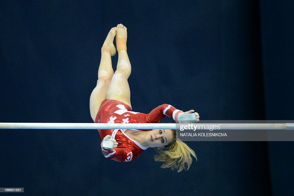 Switzerland's Giulia Steingruber competes on the uneven bars in the women's individual artistic gymnastics qualification during the 5th European Men's and Women's Artistic Gymnastic Individual Championships in Moscow on April 18, 2013. The 5th European Men's and Women's Artistic Gymnastic Individual Championships takes place in Moscow from April 17 to April 21. AFP PHOTO / NATALIA KOLESNIKOVA