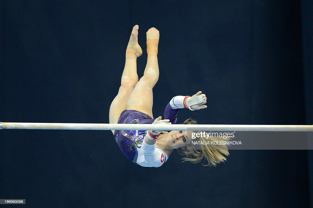 Switzerland's Giulia Steingruber competes on the uneven bars in the women's all-around artistic gymnastics final during the 5th European Men's and Women's Artistic Gymnastic Individual Championships in Moscow on April 19, 2013. Russia's Aliya Mustafina took the first place, Romania's Larisa Andreea Iordache took the second place and Russia's Anastasia Grishina took the third place.