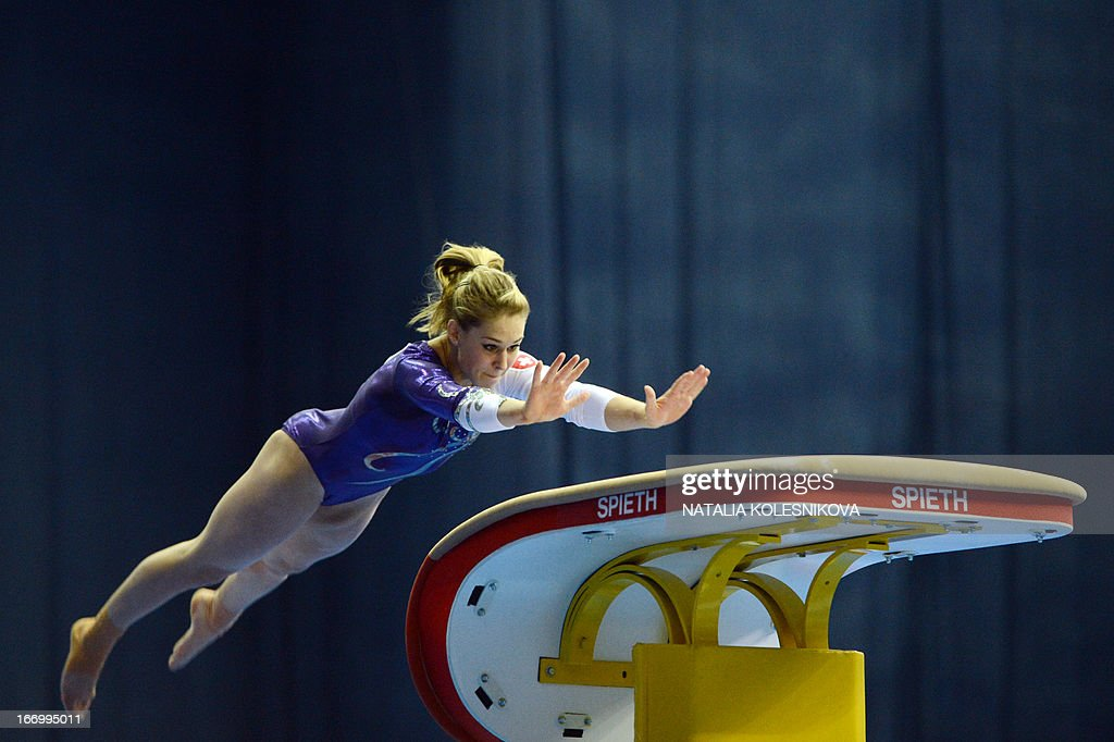 Switzerland's Giulia Steingruber competes on the vault in the women's all-around artistic gymnastics final during the 5th European Men's and Women's Artistic Gymnastic Individual Championships in Moscow on April 19, 2013. Russia's Aliya Mustafina took the first place, Romania's Larisa Andreea Iordache took the second place and Russia's Anastasia Grishina took the third place.