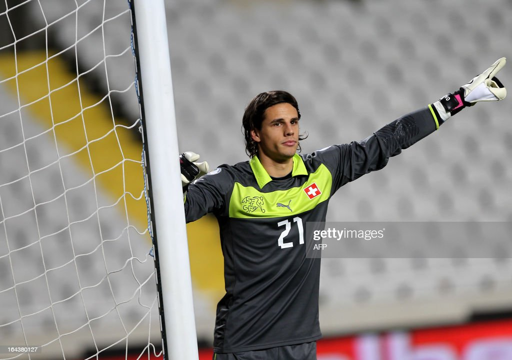 Switzerland's goalkeeper Yann Sommer gestures during the 2014 World Cup European zone group E qualifying football match between Cyprus and Switzerland at GSP Stadium in Nicosia on March 23, 2013. The match ended in a goalless draw.