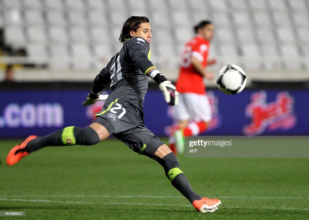 Switzerland's goalkeeper Yann Sommer kicks the ball during the 2014 World Cup European zone group E qualifying football match between Cyprus and Switzerland at GSP Stadium in Nicosia on March 23, 2013. The match ended in a goalless draw.