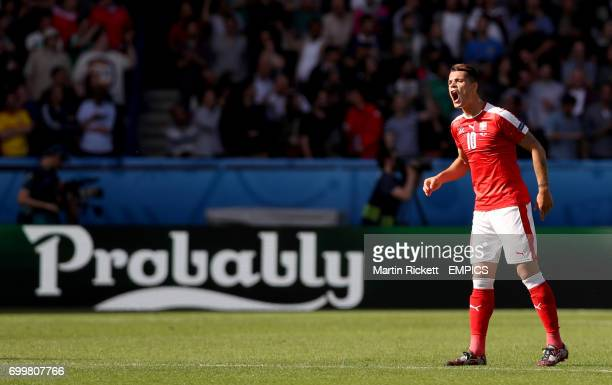 Switzerland's Granit Xhaka shouts orders