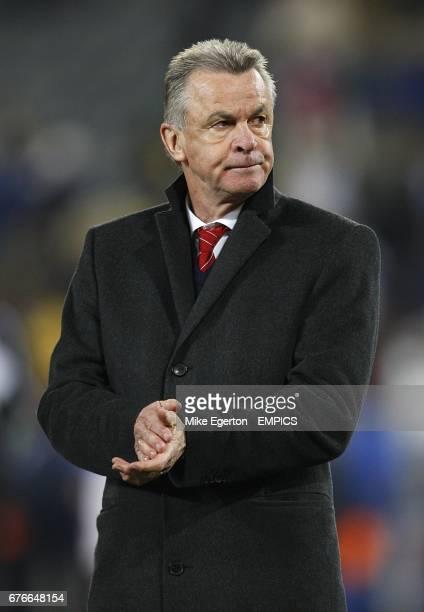 Switzerland's Head Coach Ottmar Hitzfeld appears dejected after the final whistle