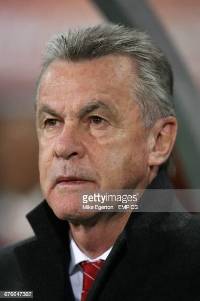 Switzerland's Head Coach Ottmar Hitzfeld on the touchline