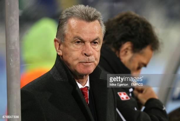 Switzerland's Head Coach Ottmar Hitzfeld prior to kick off
