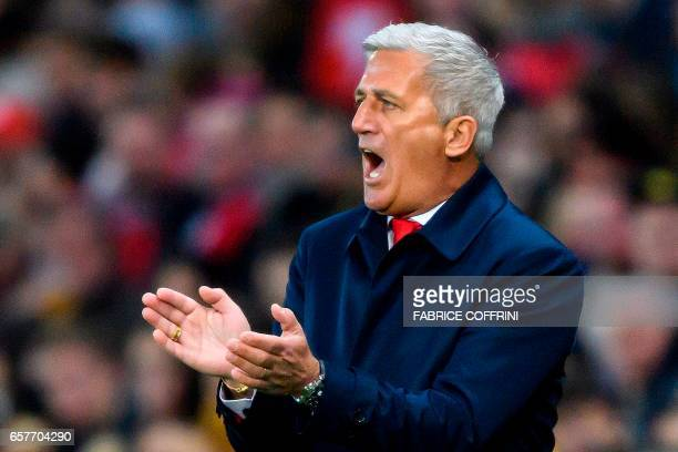 Switzerland's head coach Vladimir Petkovic gestures during the WC 2018 qualifying football match Switzerland vs Latvia on March 25 2017 at the Stade...