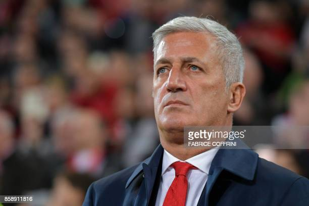 Switzerland's head coach Vladimir Petkovic stands during the national anthems prior to the FIFA World Cup 2018 football qualifier match between...