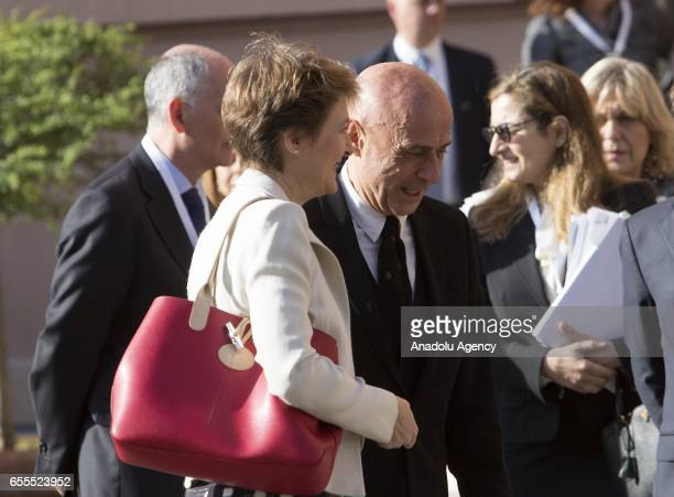 Switzerland's head of the Federal Department of Justice and Police Simonetta Sommaruga is welcomed by Italy's Interior Minister Marco Minniti as she...