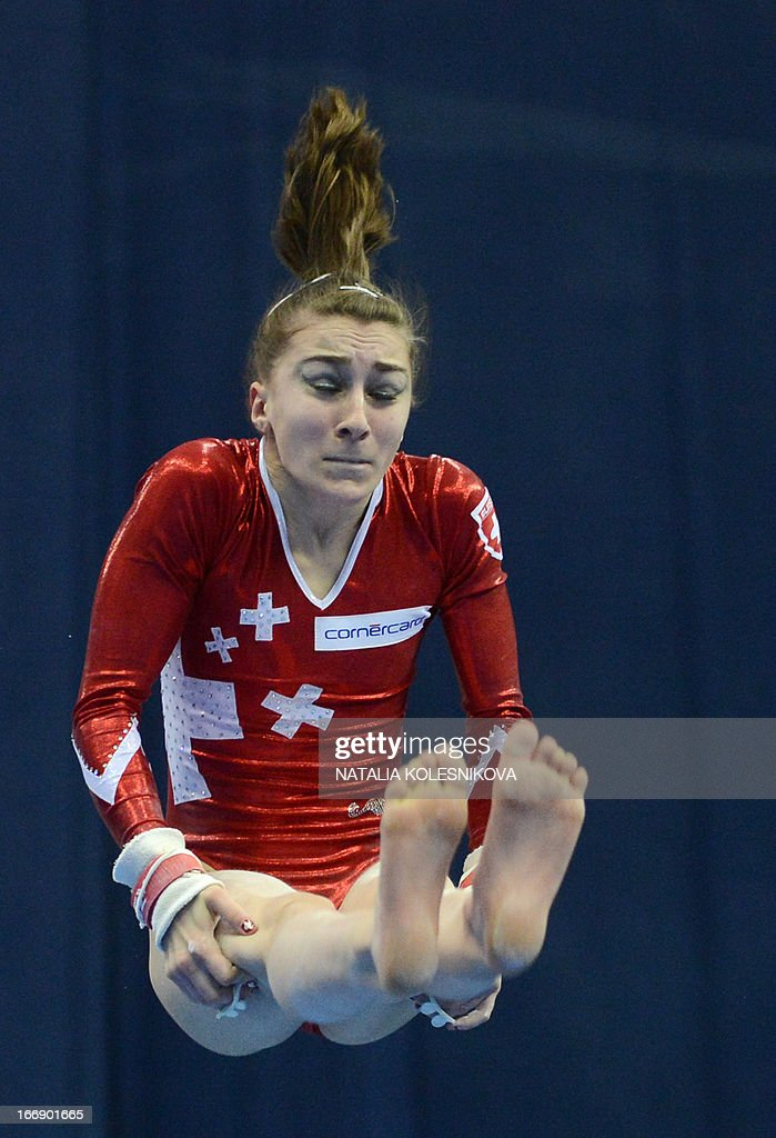 Switzerland's Ilaria Kaeslin competes on the uneven bars in the women's individual artistic gymnastics qualification during the 5th European Men's and Women's Artistic Gymnastic Individual Championships in Moscow on April 18, 2013. The 5th European Men's and Women's Artistic Gymnastic Individual Championships take place in Moscow from April 17 to April 21. AFP PHOTO / NATALIA KOLESNIKOVA