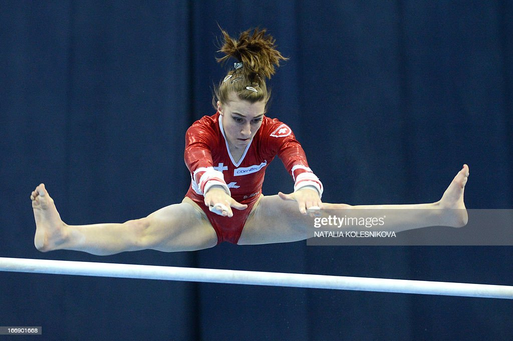 Switzerland's Ilaria Kaeslin competes on the uneven bars in the women's individual artistic gymnastics qualification during the 5th European Men's and Women's Artistic Gymnastic Individual Championships in Moscow on April 18, 2013. The 5th European Men's and Women's Artistic Gymnastic Individual Championships take place in Moscow from April 17 to April 21.