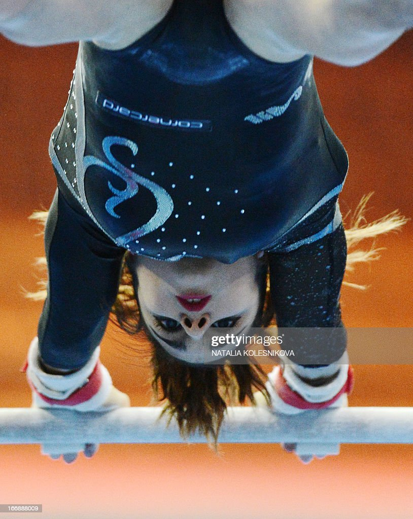 Switzerland's Jessica Diacci competes on the uneven bars in the women's individual artistic gymnastics qualification during the 5th European Men's and Women's Artistic Gymnastic Individual Championships in Moscow on April 18, 2013. The 5th European Men's and Women's Artistic Gymnastic Individual Championships takes place in Moscow from April 17 to April 21. AFP PHOTO / NATALIA KOLESNIKOVA