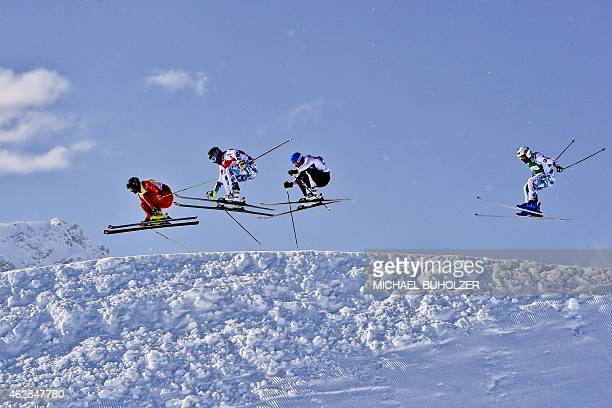 Switzerland's Jonas Lenherr France's Bastien Midol Finland's Jouni Pellinen and France's Arnaud Bovolenta compete during the Men's Snow Ski Cross...