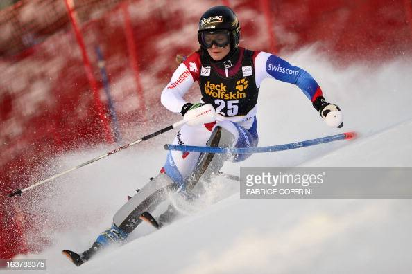 Switzerland's Lara Gut competes during the Women Slalom race at the Alpine ski World Cup finals on March 16 2013 in Lenzerheide AFP PHOTO / FABRICE...