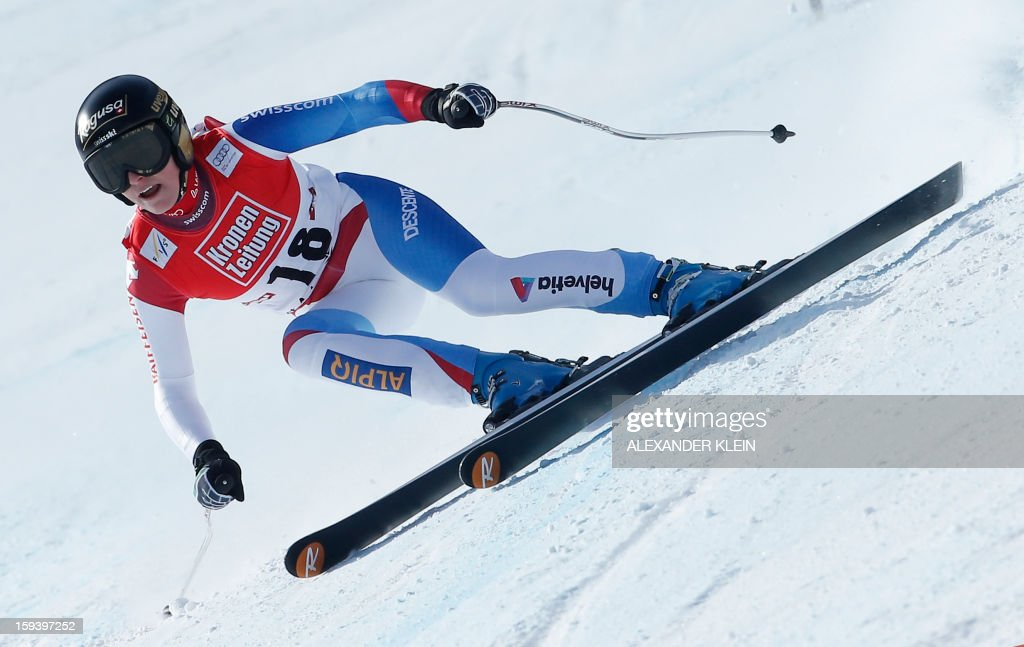 Switzerland's Lara Gut competes during the women's World Cup Super G, on January 13, 2013 in St Anton am Arlberg, Austria. Slovenia's Tina Maze won ahead of Austria's Anna Fenninger and Switzerland's Fabienne Suter.