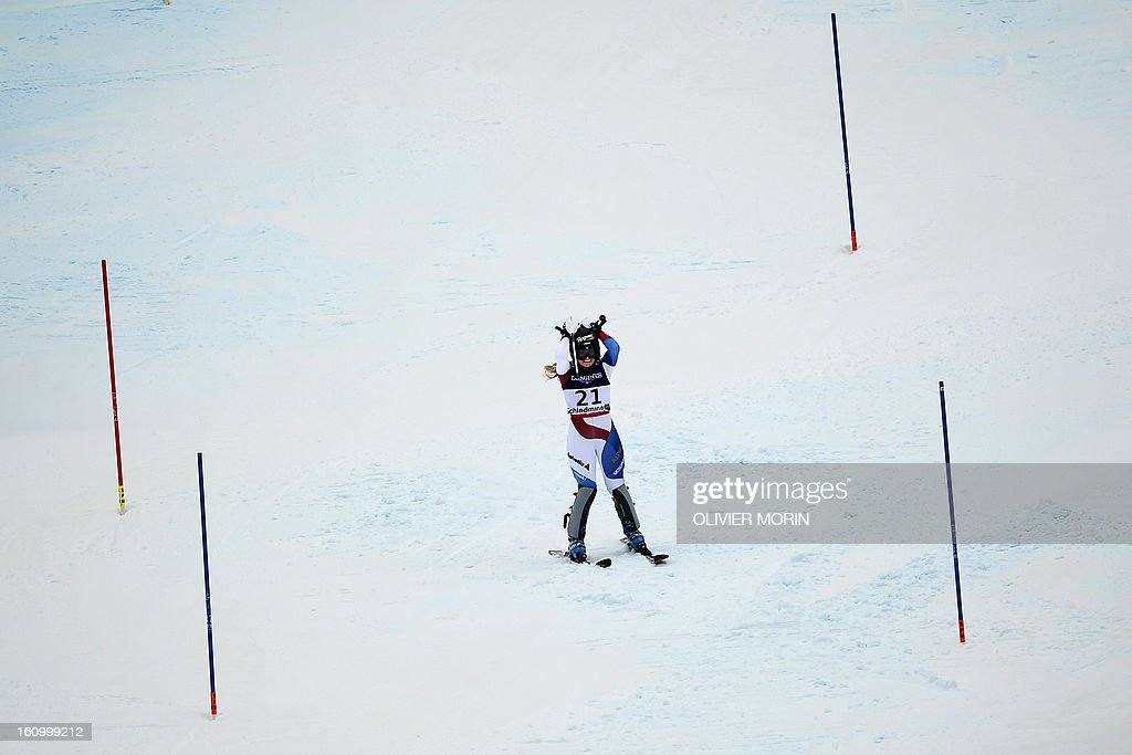 Switzerland's Lara Gut reacts after missing a gate during the women's Super Combined slalom event of the 2013 Ski World Championships in Schladming, Austria on February 8, 2013. AFP PHOTO / OLIVIER MORIN