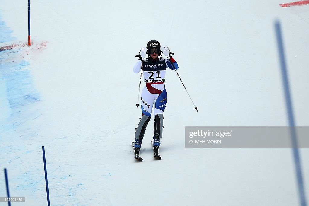 Switzerland's Lara Gut reacts after missing a gate during the women's Super Combined slalom event of the 2013 Ski World Championships in Schladming, Austria on February 8, 2013.