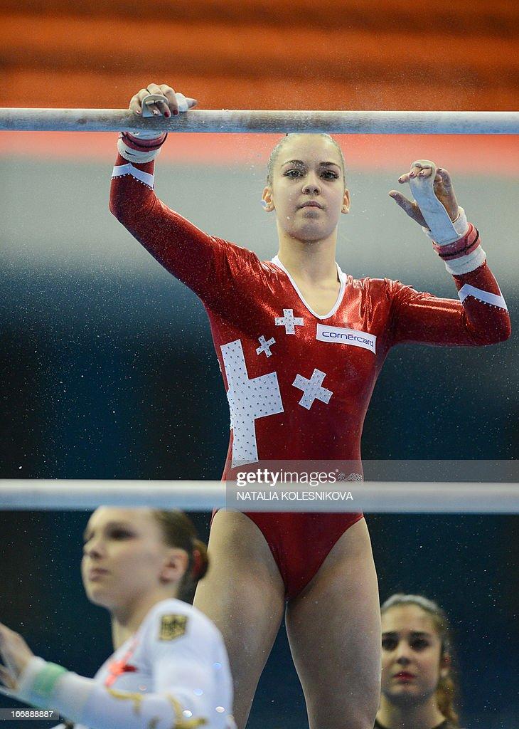 Switzerland's Laura Schulte prepares during the women's individual artistic gymnastics qualification during the 5th European Men's and Women's...