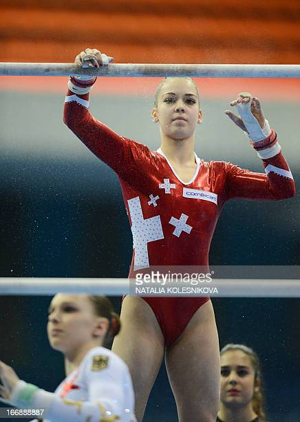 Switzerland's Laura Schulte prepares during the women's individual artistic gymnastics qualification during the 5th European Men's and Women's...