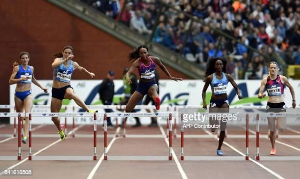 Switzerland's Lea Sprunger Czech Republic's Zuzana Hejnova US Dalilah Muhammad US Ashley Spencer and Britain's Eilidh Doyle compete in the women's...