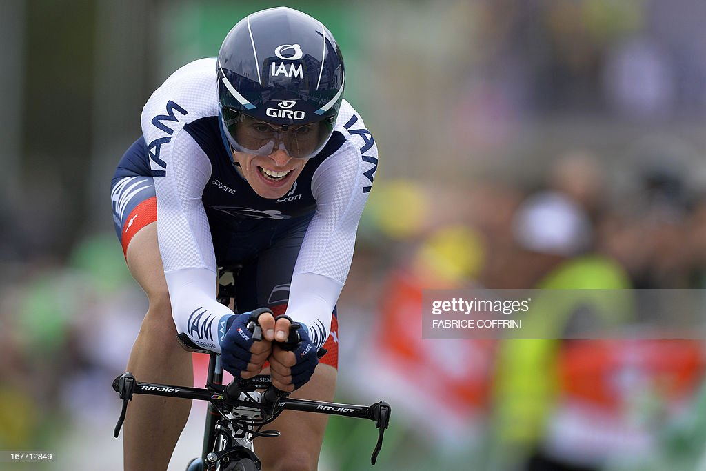 Switzerland's Marcel Wyss rides during the last stage of the Tour de Romandie cycling race, a 18,7 km race against the clock, on April 28, 2013 in Geneva.