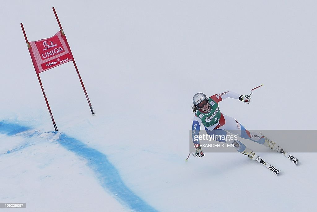 Switzerland's Marianne Kaufmann-Abderhalden practices during the St Anton ladies downhill training session as part of the FIS Ski World Cup held in Sankt Anton am Arlberg on January 10, 2013.