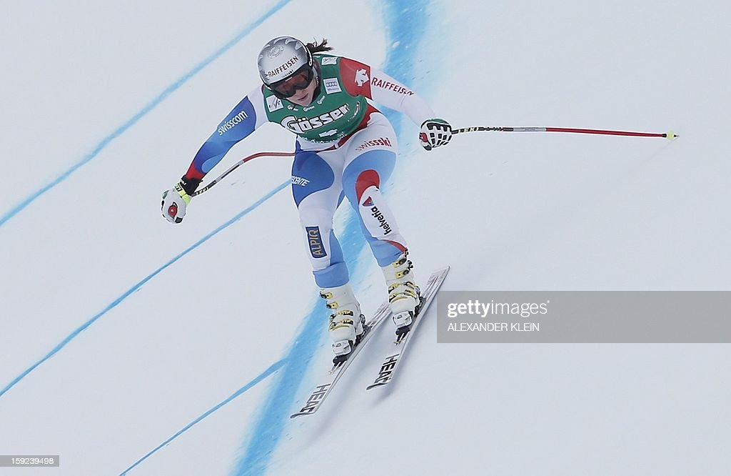 Switzerland's Marianne Kaufmann-Abderhalden skies during the St Anton ladies downhill training session as part of the FIS Ski World Cup held in Sankt Anton am Arlberg on January 10, 2013.