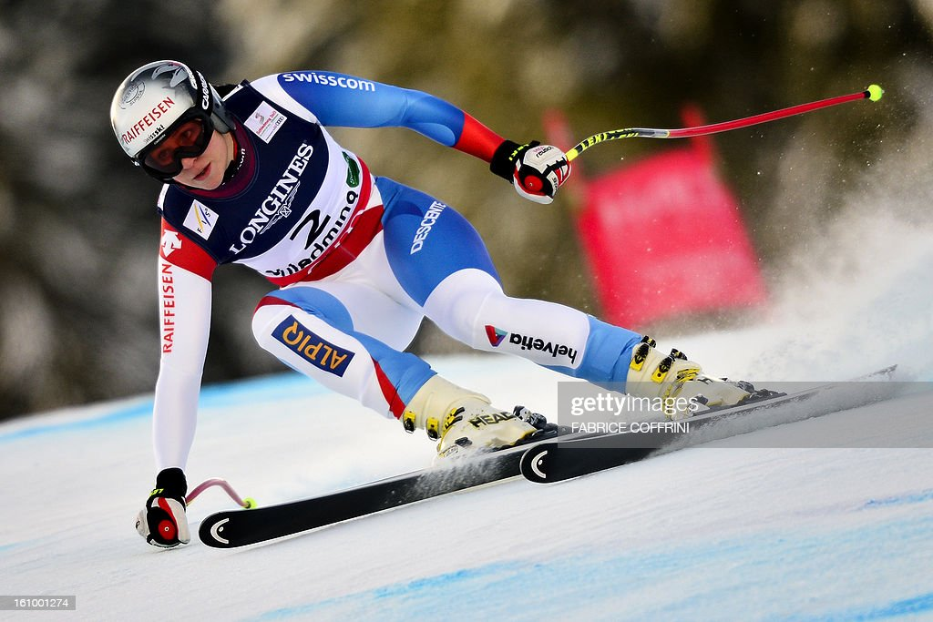 Switzerland's Marianne Kaufmann-Abderhladen competes during the women's Super Combined slalom event of the 2013 Ski World Championships in Schladming, Austria on February 8, 2013.