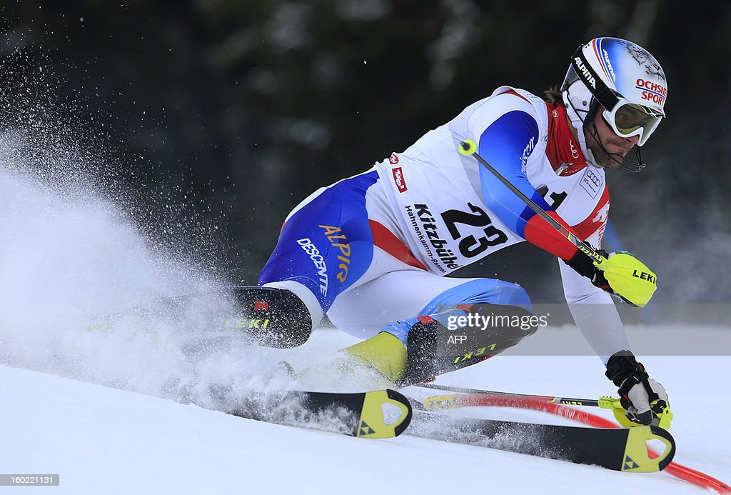 Switzerland's Markus Vogel competes during the first round of the FIS World Cup men's slalom race on January 27, 2013 in Kitzbuehel, Austrian Alps. AFP PHOTO / ALEXANDER KLEIN