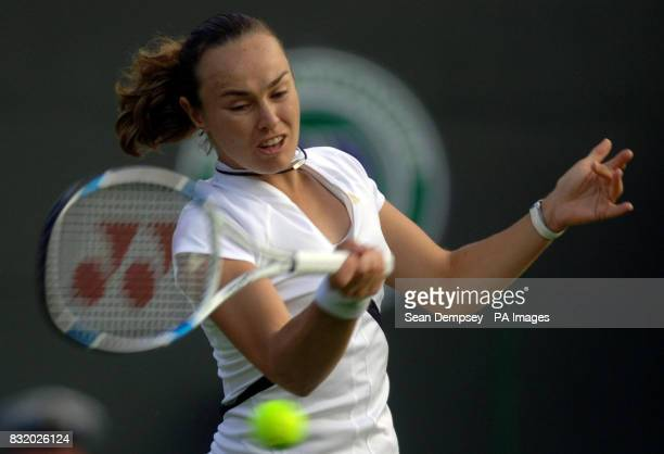 Switzerland's Martina Hingis during the first round of The All England Lawn Tennis Championships at Wimbledon